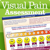 Pain assessment tools, featuring visual pain tools