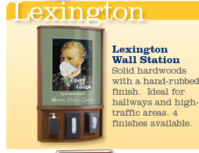 Lexington Wall Station.  Solid hardwoods with a hand-rubbed finish.  Ideal for hallways and high-traffic areas.