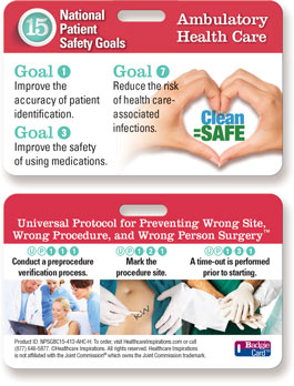 2015 National Patient Safety Goal Badgie Card for Ambulatory Care