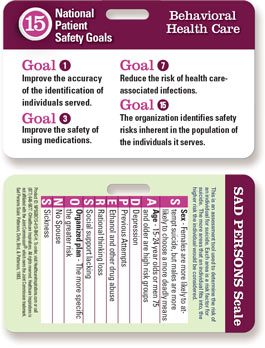 2015 National Patient Safety Goal Badgie Card for Behavioral Health