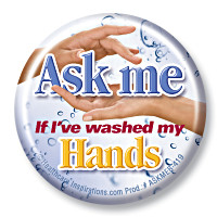 Ask me if my hands are clean Button