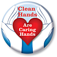 Clean Hands are Caring Hands Button
