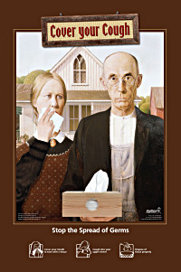 American Gothic Cover Your Cough Poster