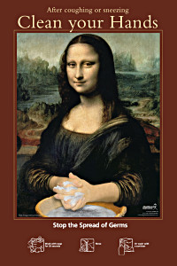 Mona Lisa - Clean Your Hands Poster