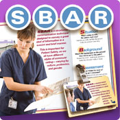 SBAR Communication tools, featuring SBAR posters, SBAR pens, SBAR notepads, and SBAR badgie cards.