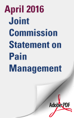 April 2016: Joint Commission Statement on Pain Management (PDF Download)